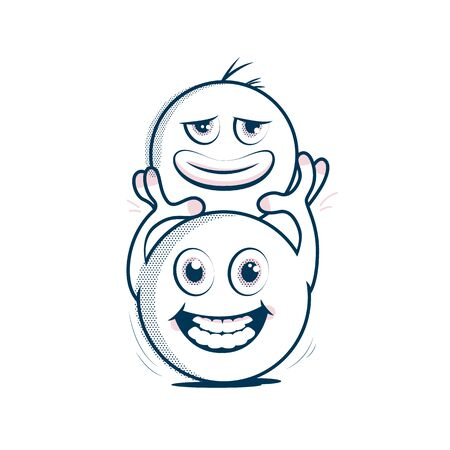 A cheerful Emoji has taken off a sad-faced Emoji and is holding it above his head.