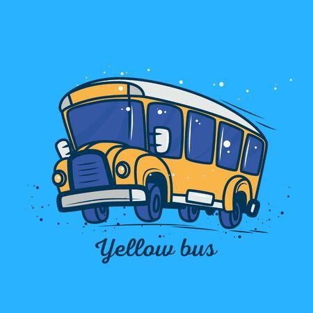 Yellow school bus in motion in cartoon style as a sticker. Ilustração