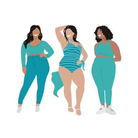 Model plus size in blue clothes flat and beautiful style on white background. Cartoon style. Concept design. Happy woman.