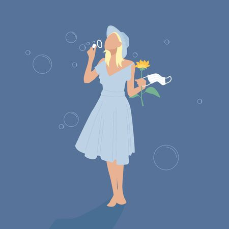 A happy girl in a blue dress and hat blows soap bubbles, holding a flower and a medical mask. Illustration for the end of the coronavirus. Happiness from a free life. Ilustração