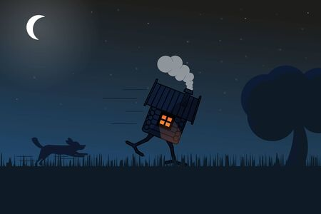 Illustration of a hut running from a dog on chicken legs in a field lit by moonlight. Illustration of the silhouettes.