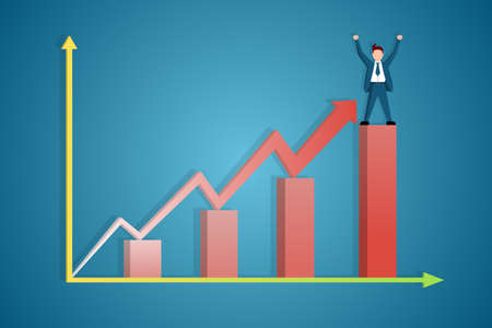 Infographic of the Manager's success rate in the form of a chart. The Manager stands at the peak of the chart with his hands raised in happiness.