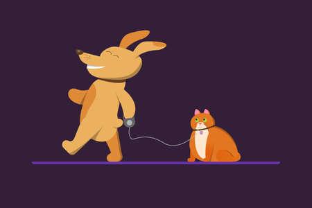A dog walks a cat that looks astonishment. Cartoon illustration for children's books, veterinary clinics.