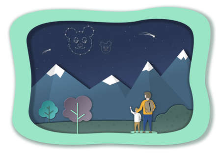 Father and son look up at the night sky, where the constellation of the big and the little bear is visible. Paper cut style for decoration design. Illustration for books and design.
