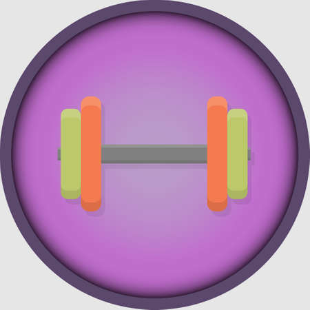 Dumbbell icon for stories in social networks. Fitness, gym, beauty and health.