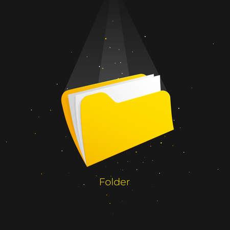 Design template with yellow folder sheet on black background. Template, blank. Vector template. Ilustração