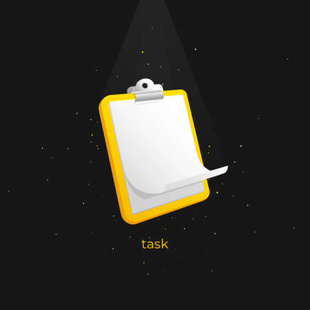 A three-dimensional clipboard with light falling on it on a black background. Vector icon for computers and apps. Ilustração