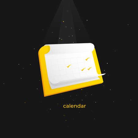 Trendy web label calendar template for internet. Icon for computer and apps. Ilustração