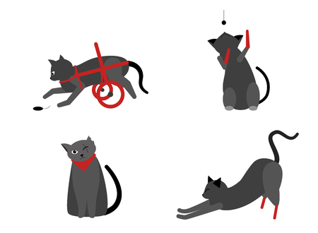 Collection of cute cats with disabilities. A bunch of happy pets or pets with artificial legs or artificial legs. Colorful vector illustration in flat cartoon style. On a white background.