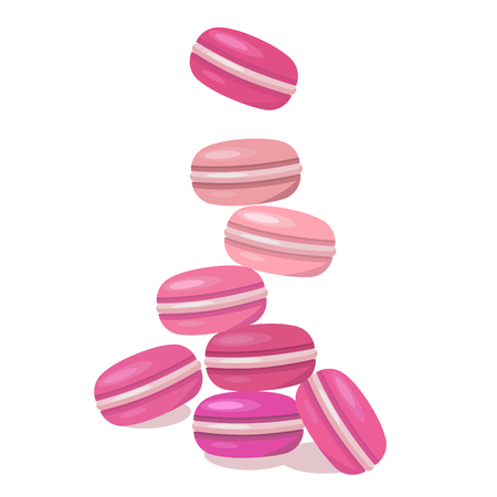 Colored macaroons on a white background. Illustration