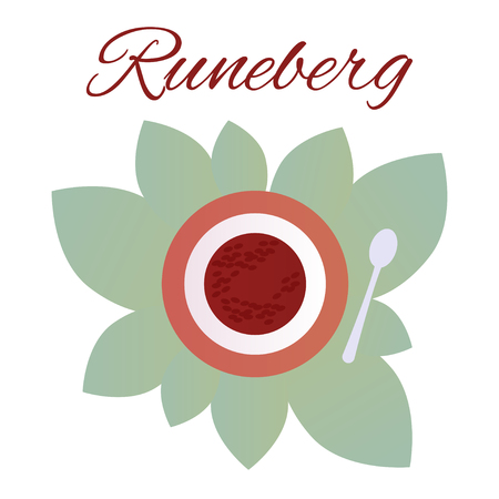 Traditional Finnish pastries. Cake Runeberg. Pie. Runeberg Torte Raspberry jam Banque d'images - 124358777