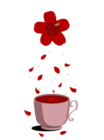 Carcade tea and hibiscus flower on a white background