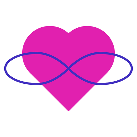 Symbol of polyamory. Heart and infinity. Endless love. White background and pink heart.