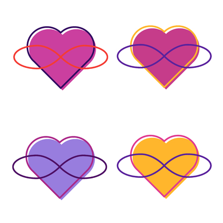 Symbol of polyamory. Heart and infinity. Endless love. White background. Set. Set Few hearts