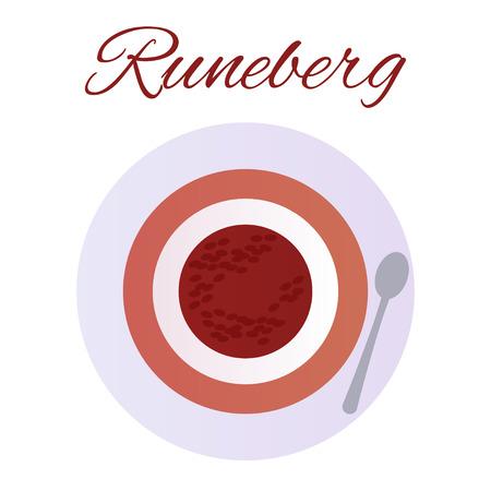 Traditional Finnish pastries. Cake Runeberg. Pie. Runeberg Torte Raspberry jam Çizim