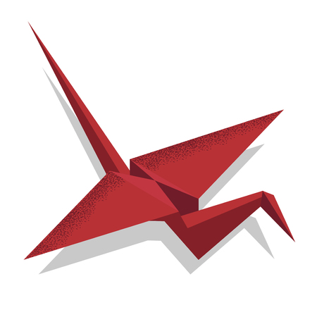 Illustration of paper origami crane isometric on a white background Ilustracja