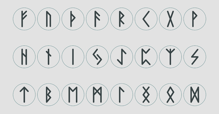 Set of ancient Norse runes. Runic alphabet, Futhark. Ancient occult symbols. Vector illustration. Old Germanic letters on a white background.