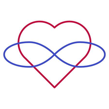 Polyamory Symbol. Heart and infinity. Endless love. White background and linear style. Illustration