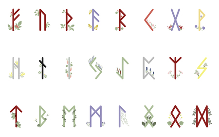 Set of ancient Norse runes. Runic alphabet, Futhark. Ancient occult symbols. Vector illustration. Old Germanic letters on a white background. Decorated with plants and flowers. Nature.