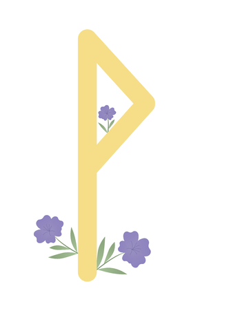 Fleece Scandinavia. Vector illustration of runes Wunjo. The symbol of the letter Futhark. Spiritual esoteric. Fleece with leaves and flowers.