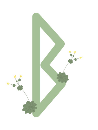 Fleece Scandinavia. Vector illustration of the runes Berkana. The symbol of the letter Futhark. Spiritual esoteric. Fleece with leaves and flowers. Ilustração