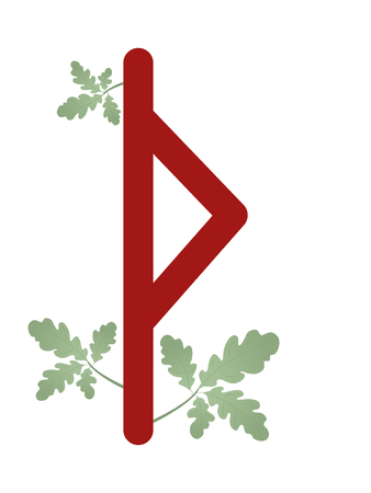 Fleece Scandinavia. Vector illustration of the runes Thurisaz. Symbol letters Futhark. Spiritual esoteric. Fleece with leaves.