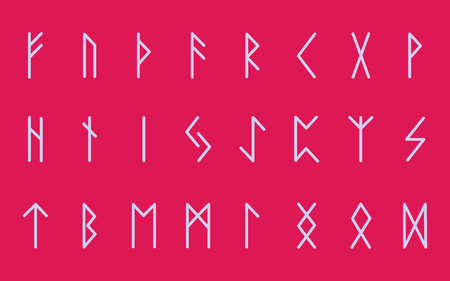 Set of ancient Norse runes. Runic alphabet, Futhark. Ancient occult symbols. Vector illustration. Old german light letters on a pink background.