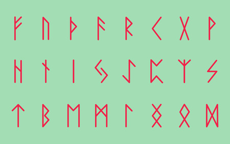 Set of ancient Norse runes. Runic alphabet, Futhark. Ancient occult symbols. Vector illustration. Old german coral letters on green turquoise background.