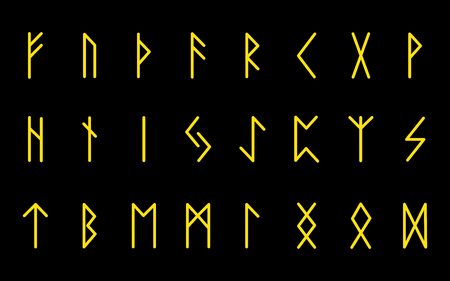 Set of ancient Norse runes. Runic alphabet, Futhark. Ancient occult symbols. Vector illustration. Old German yellow gold letters on a black background.