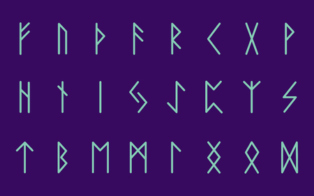 Set of ancient Norse runes. Runic alphabet, Futhark. Ancient occult symbols. Vector illustration. Old German blue letters on a purple background.