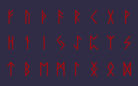 Set of ancient Norse runes. Runic alphabet, Futhark. Ancient occult symbols. Vector illustration. Old German red letters on graphite gray background. Ilustração