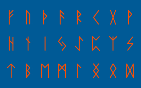 Set of ancient Norse runes. Runic alphabet, Futhark. Ancient occult symbols. Vector illustration. Orange letters on blue background
