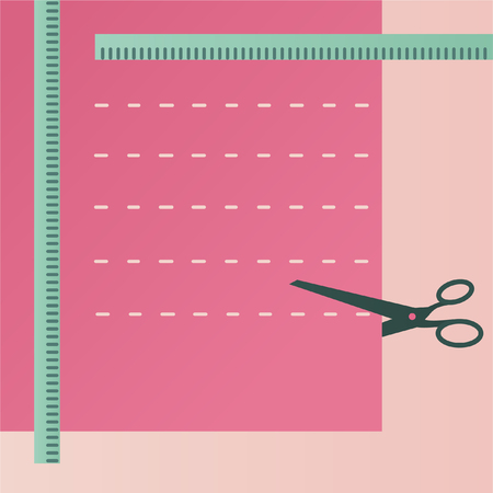 Sewing accessories. Scissors and pink cloth Ilustração