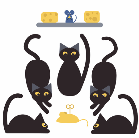 Black cats and mice with cheese Illustration
