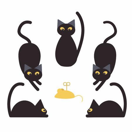 Black cats and fake yellow mouse Illustration