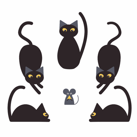 Black cats and mouse stole cheese.