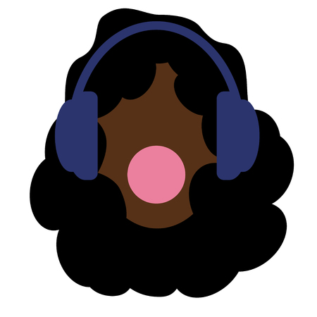 Girl with black afro hair. Headphones and music. Young and brave. Chewing gum. White background. African American women