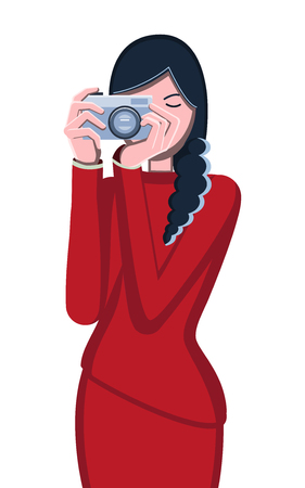 Photographer. Woman and camera. Avatar girls. Portrait of a professional. Vector flat illustration. White background. Brunette girl. Ilustração