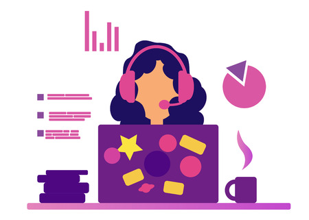 Webinar Girl in headset. Web consultant and web assistant. Talking on the Internet. Distance learning. Online support. Operator. Video Call. Online training. White background. Charts. Ilustração