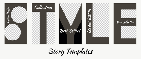 A set of minimalist stories for social networks. Frame. Package to create unique content. Templates for stories. Letters patterns for stories. Pattern style. Black and white