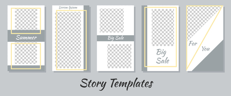 A set of minimalist stories for social networks. Frame for your photos. Seth to create your unique content. Templates for stories. The template is light universal. Imagens - 120585123