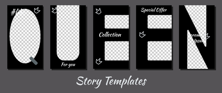 A set of minimalist stories for social networks. Frame for your photos. Seth to create your unique content. Templates for stories. Pattern in the shape of letters. Black letters.
