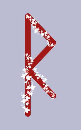Fleece Raido, the ancient Scandinavian Fleece. Vector illustration. The letter of the senior futarka. Herbal theme, ivy rune runes. Red runes. Illustration