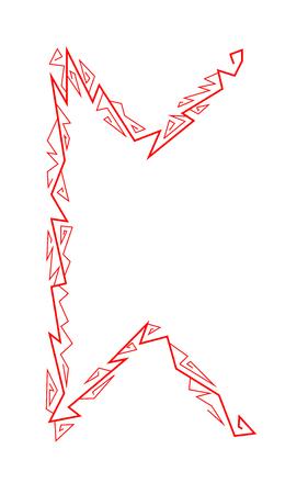 Rune Perth. Ancient Scandinavian runes. Runes senior futarka. Magic, ceremonies, religious symbols. Predictions and amulets. White background and red ornament