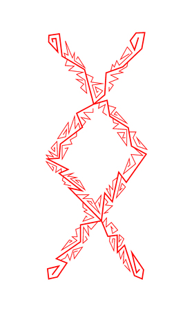 Rune Ingwaz. Ancient Scandinavian runes. Runes senior futarka. Magic, ceremonies, religious symbols. Predictions and amulets. White background and red ornament Ilustração