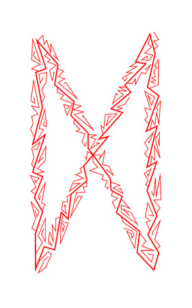 Dagaz Rune. Ancient Scandinavian runes. Runes senior futarka. Magic, ceremonies, religious symbols. Predictions and amulets. White background and red ornament Ilustracja