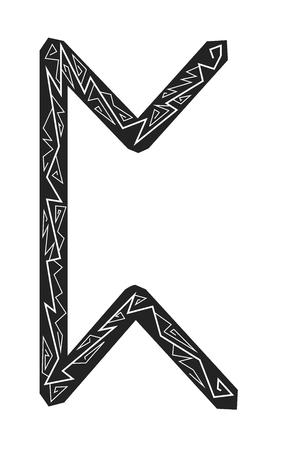 Rune Perth. Ancient Scandinavian runes. Runes senior futarka. Magic, ceremonies, religious symbols. Predictions and amulets. Ornament lightning. White background, black runes and white ornament Illustration