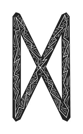 Dagaz-Rune. Alte skandinavische Runen. Runen Senior Futarka. Magie, Zeremonien, religiöse Symbole. Vorhersagen und Amulette. Blitz verzieren. Weißer Hintergrund, schwarze Runen und weißes Ornament Vektorgrafik
