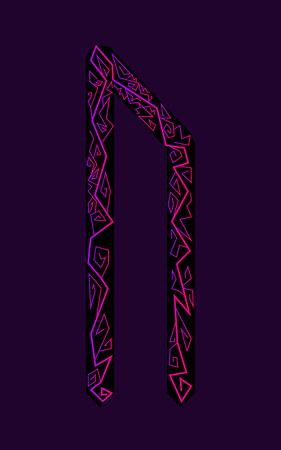 Letter Uruz. Ancient Scandinavian runes. Runes senior futarka. Magic, ceremonies, religious symbols. Predictions and amulets. Ornament lightning. Dark background, black runes, purple-red ornament Neon style