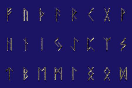 Conjunto de runas nórdicas antiguas. Alfabeto rúnico, Futhark. Símbolos ocultos antiguos. Ilustración vectorial. Antiguas letras germánicas. Adorno, patrón. fondo azul. Patrón dorado brillante.